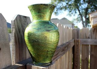 diy shimmery glitter green vase