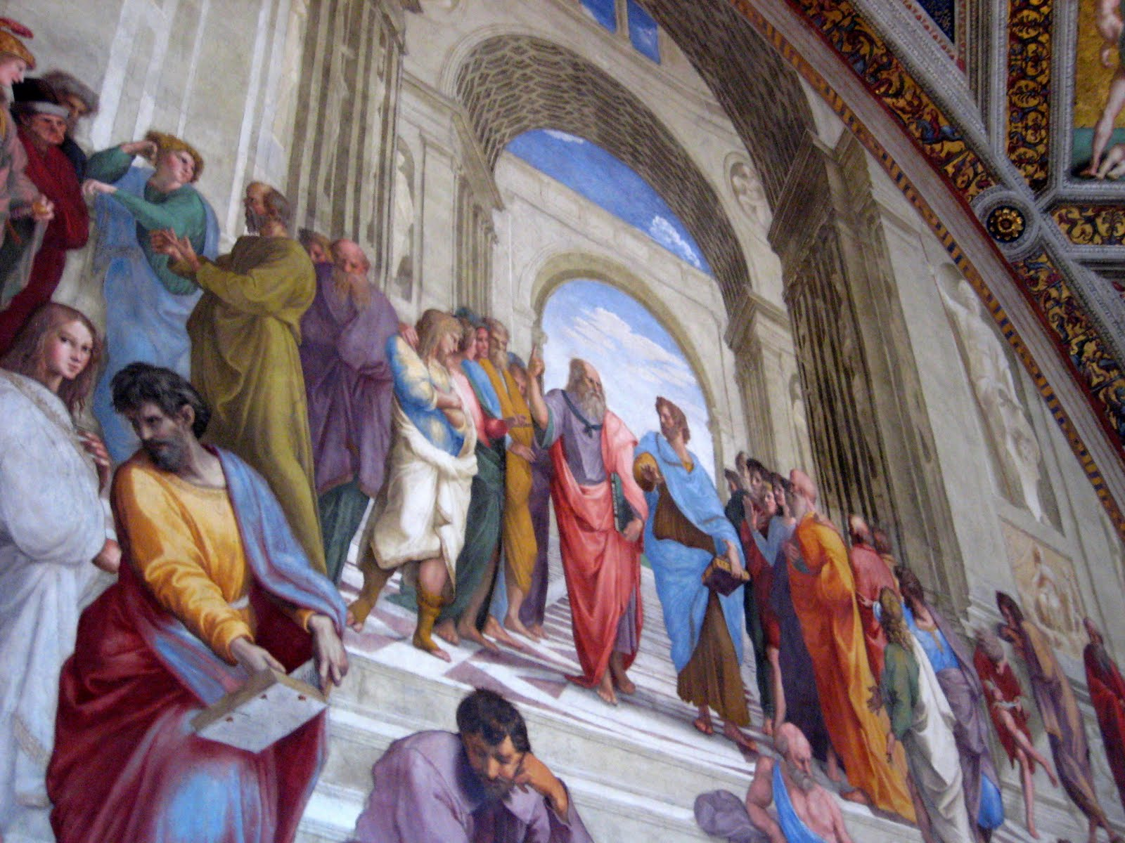 raphael the school of athens School of athens by raphael style of the painting fresco painting- paint on wet plaster used a renaissance color palette to highlight certain characters and control the attention of the.