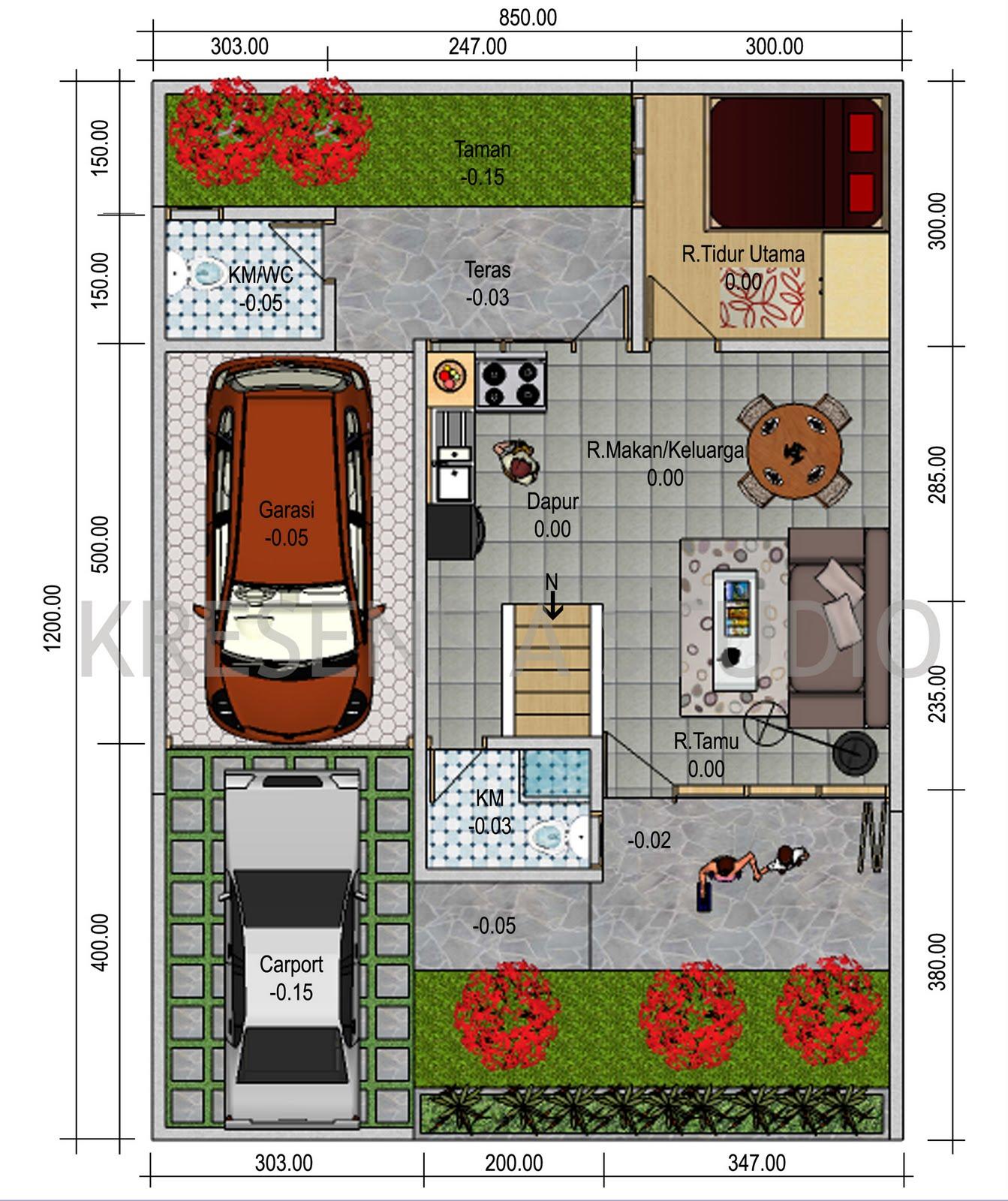 denah desain rumah minimalis modern