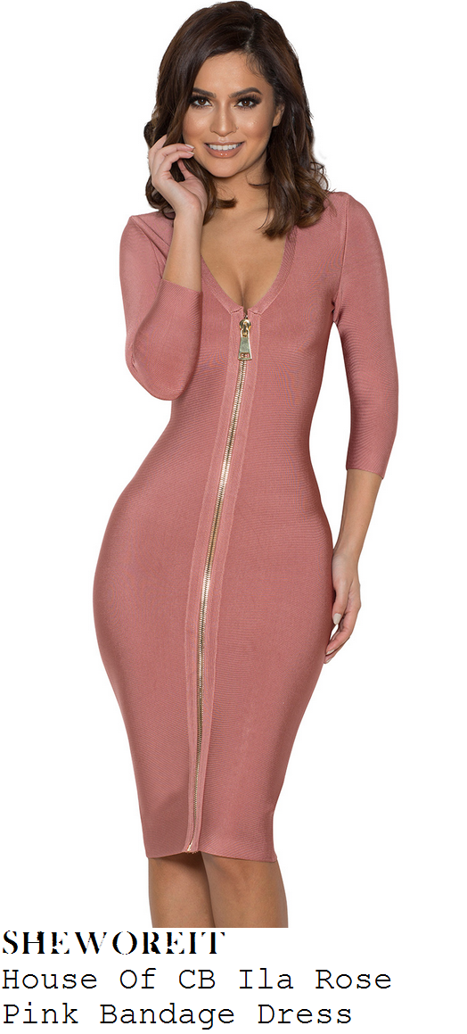 vicky-pattison-rose-pink-long-sleeve-zip-front-bandage-dress