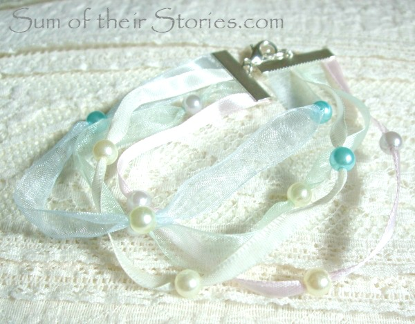 Delicate ribbon and bead bracelet