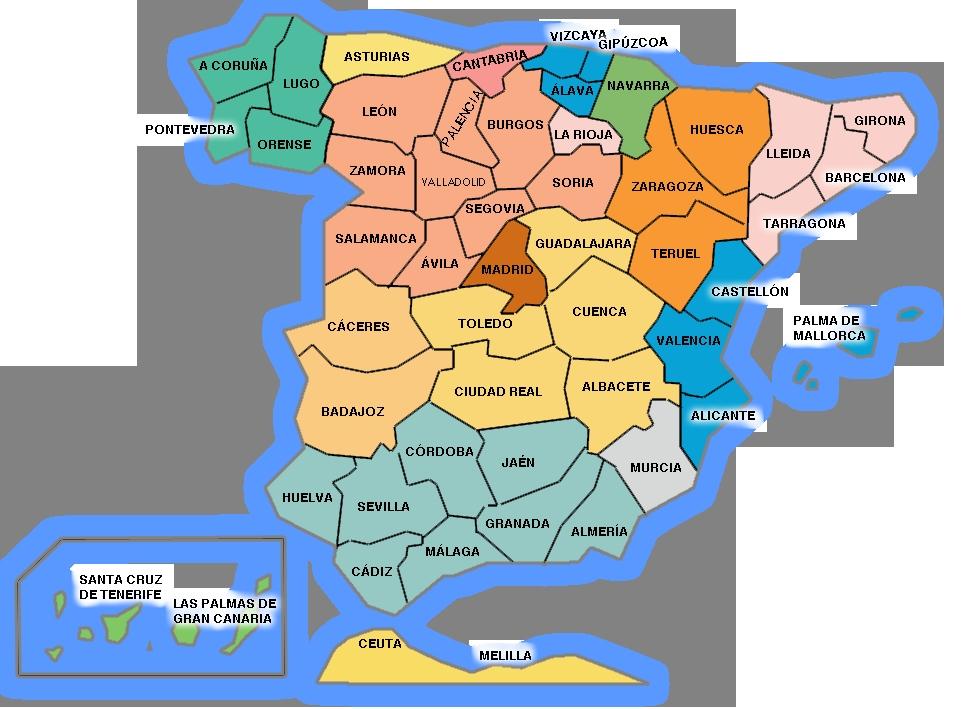 mapa de españa con nombres