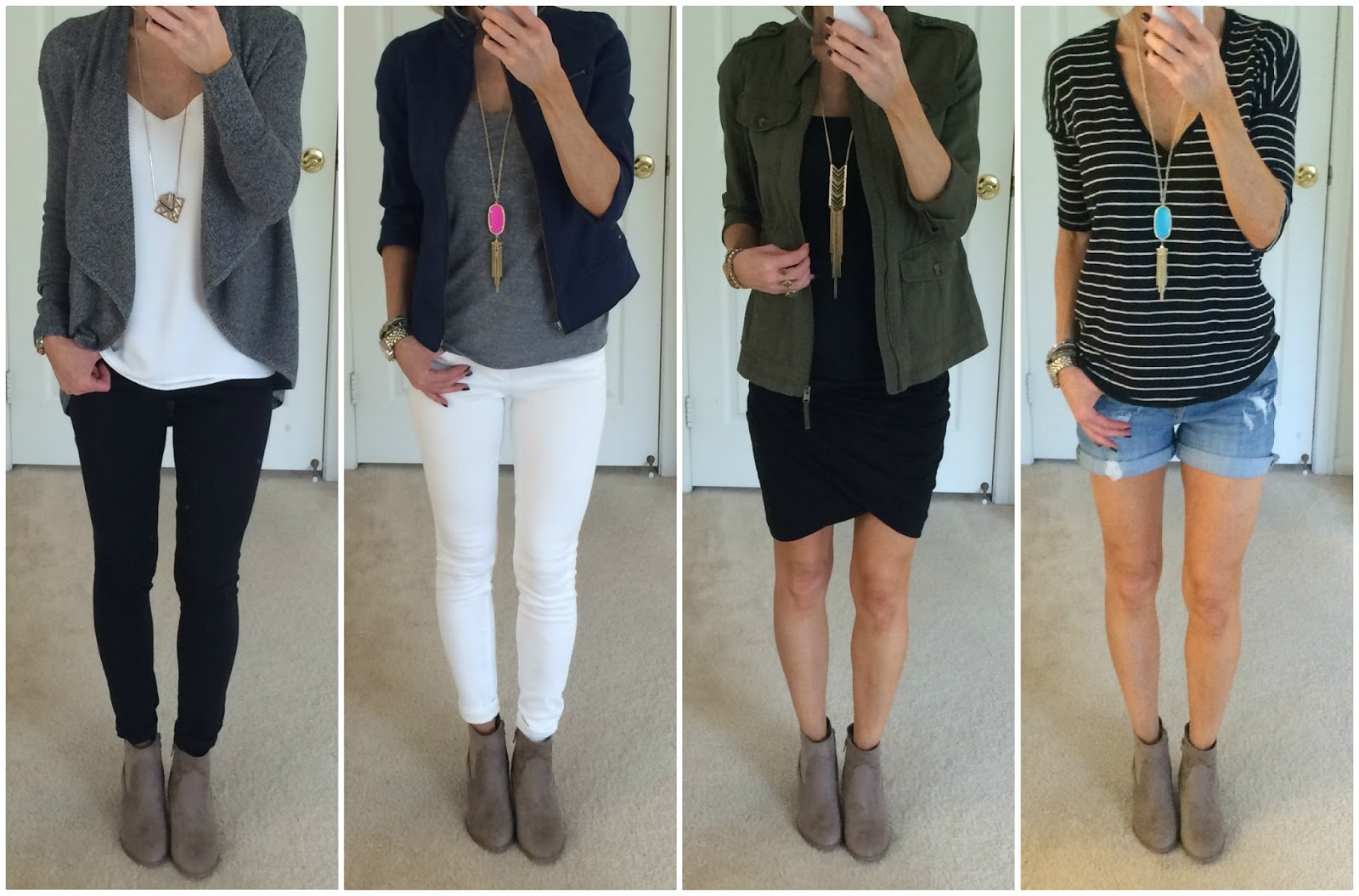 planning 4 ways to wear taupe booties on the