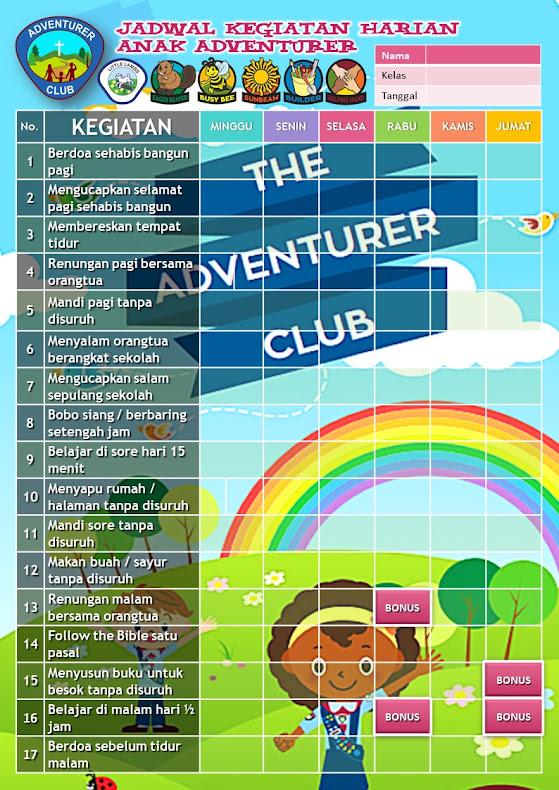 Kartu Jadwal Kegiatan Harian Klub Adventurer GMAHK Tanjungpinang