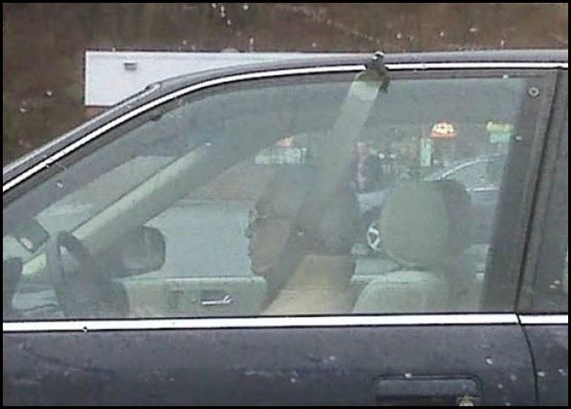 Hombre conduciendo con cinturon de seguridad roto.
