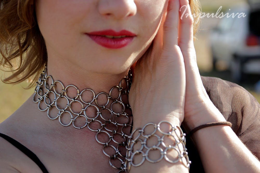 Impulsiva Jewelry-Silver ring chain statement bracelet, handmade unisex bracelet