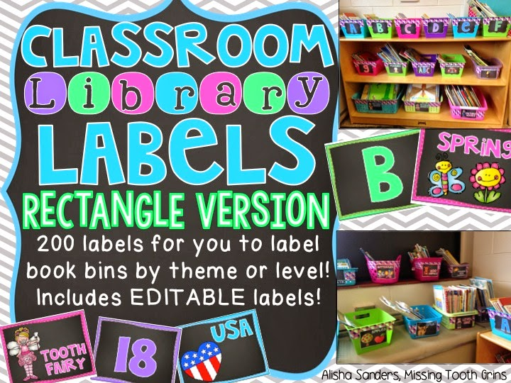 http://www.teacherspayteachers.com/Product/Classroom-Library-Labels-Rectangle-Chalkboard-EDITABLE-1348802