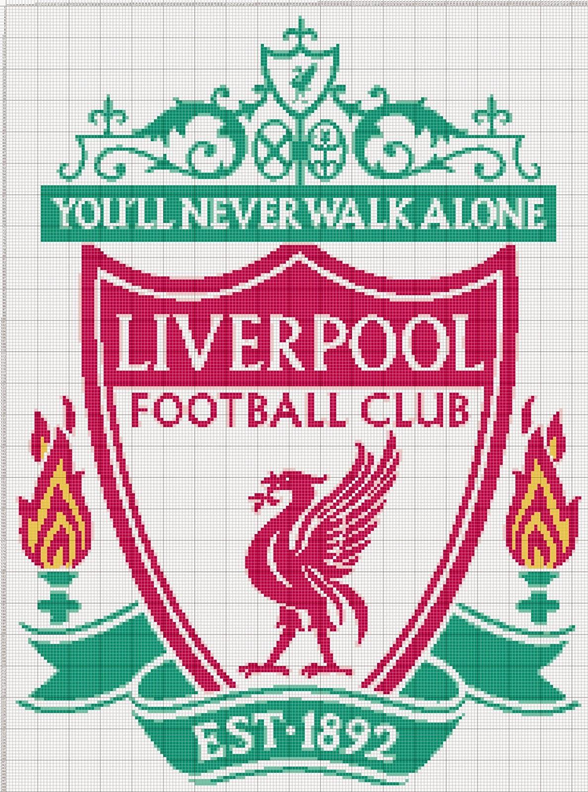 Gambar Pola Kristik Logo Klub Sepakbola Liverpool F.C. - Inggris