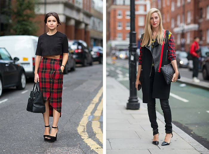 street style fashion week spring 2014, tartan, red and black