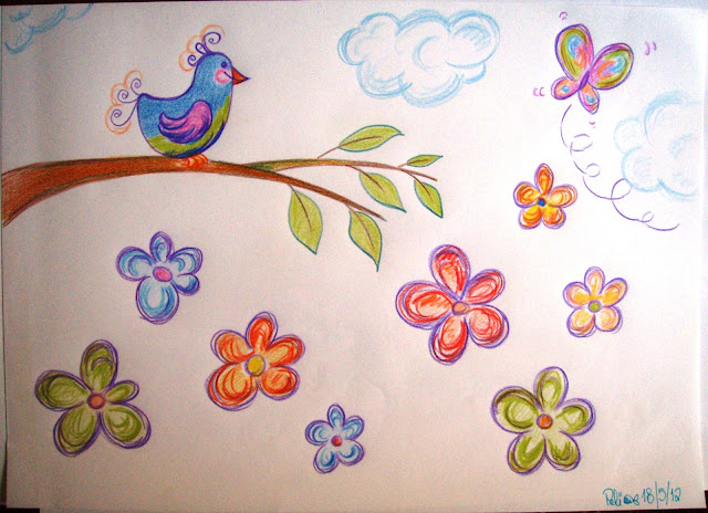 spring time flowers bird coloured pencil drawing