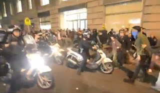 OWS Fascist NYPD Wild Ride Motor Bikes Attack Against Occupy Wall Street Protesters