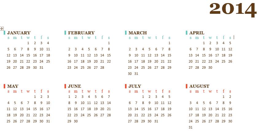 tạo lịch trên Microsoft Word 2013