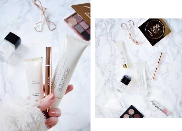 winter makeup highlighters, glowy skin makeup