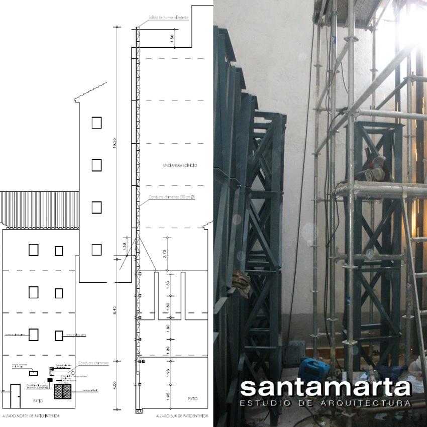 Santamarta arquitectos torre para la evacuaci n de humos de un restaurante - Estructuras de chimeneas ...