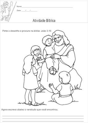 Atividade bíblica para ler e colorir João 3:16