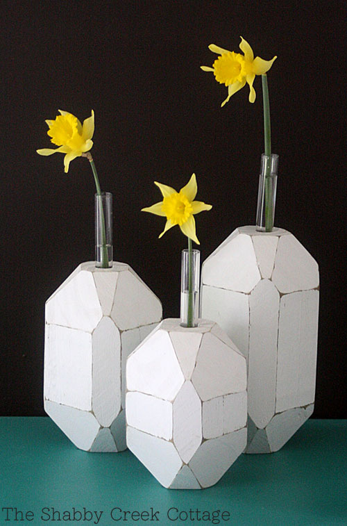 bud vase, facet decor, faceted vases, facets, flowers, spring decor, test tubes, vase with facets, vases, wood test tube vase, wood vase