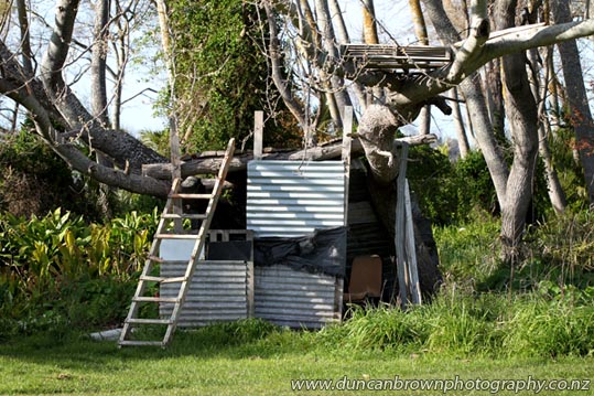 Who needs wi-fi? Home-made hut in Wairoa photograph