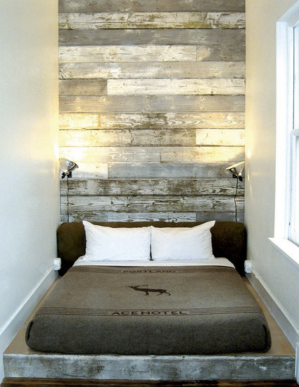 I stayed here! The Portland Ace Hotel. Loved this Room. This Photo was  featured on Casa Sugar with 9 other fantastic reclaimed wood headboard  ideas. - CHECK OUT MY SALVAGED WOOD HEADBOARD AND OTHER DIY HEADBOARD IDEAS! |