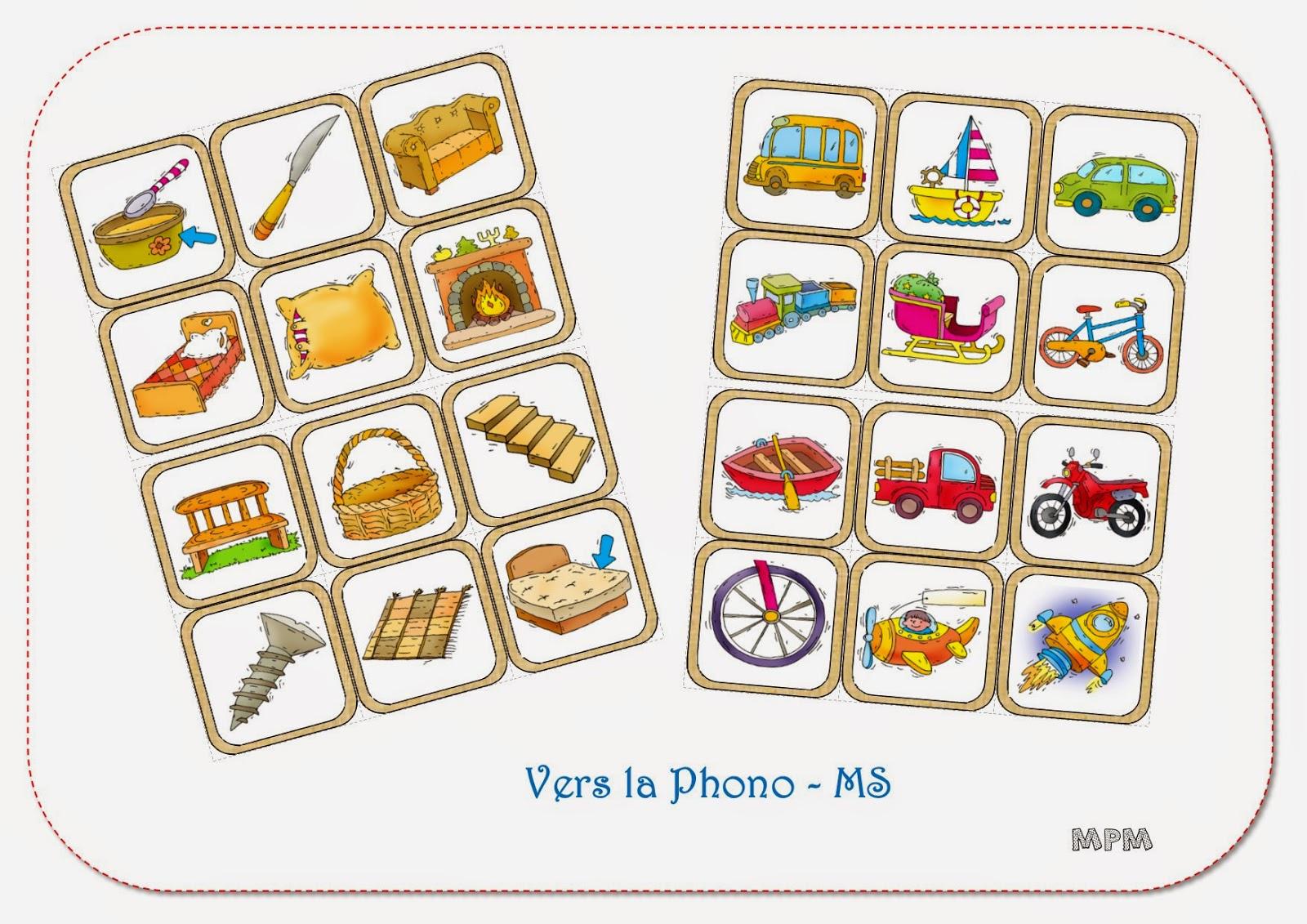 Phonologie MS - imagier de la maison et des transports