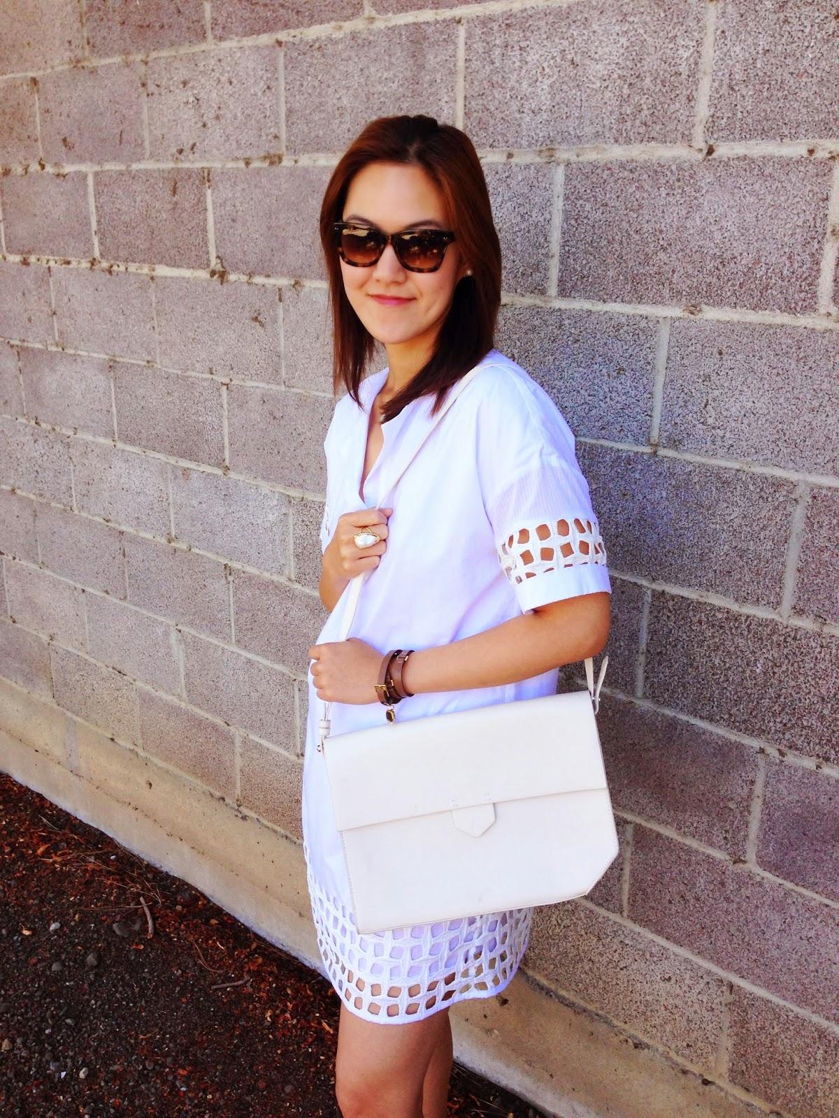 white dress, summer, white summer, structured bag