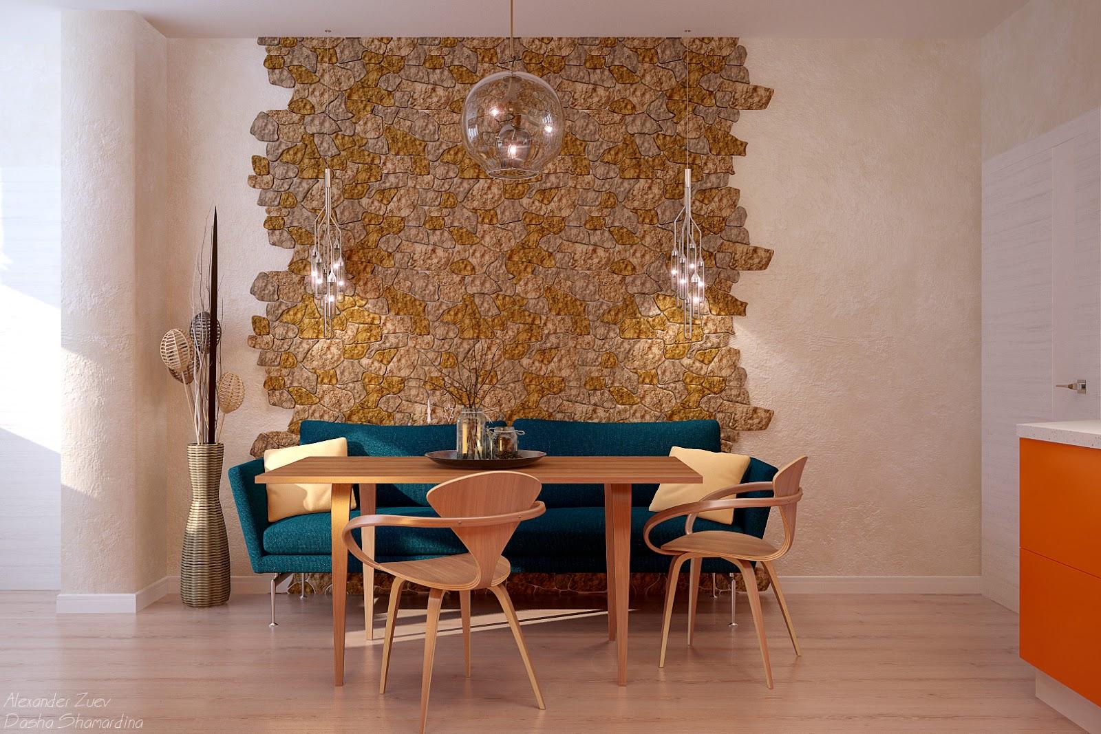 Кухня интерьер стены возле стола фото