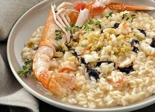 risotto con scampi al balsamico
