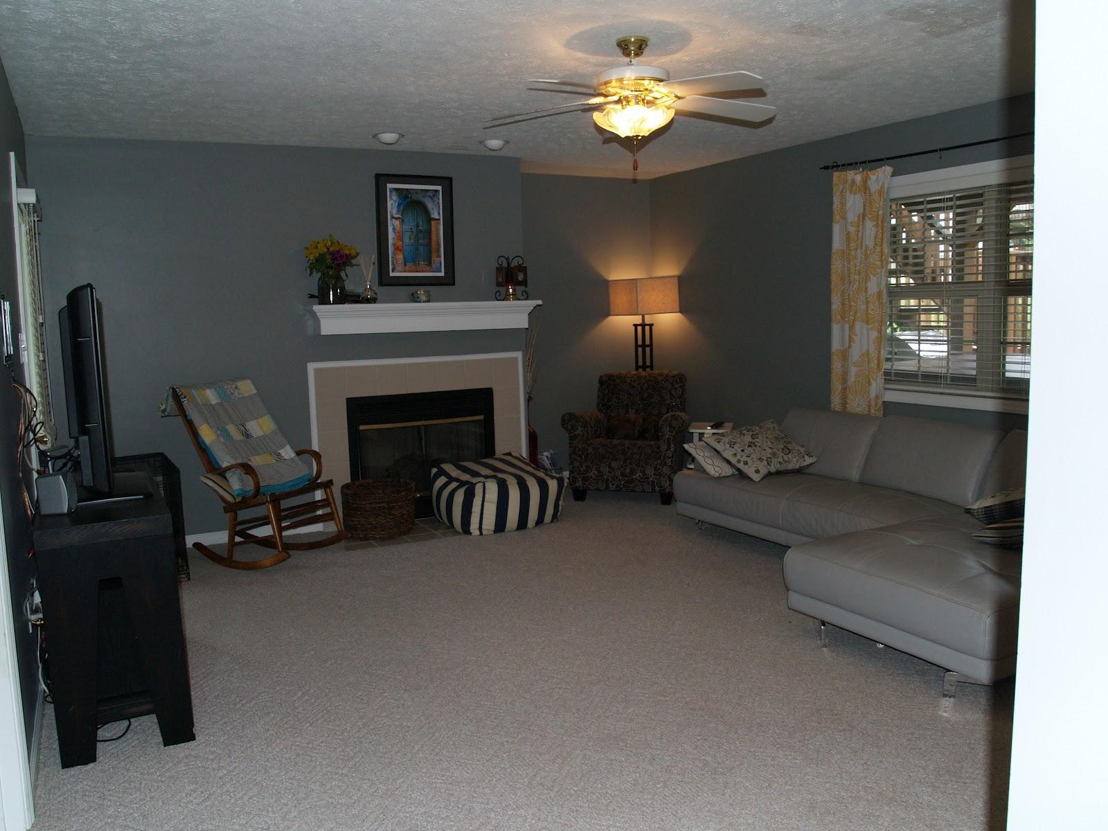 This diy house living room progress for Living room ideas grey carpet
