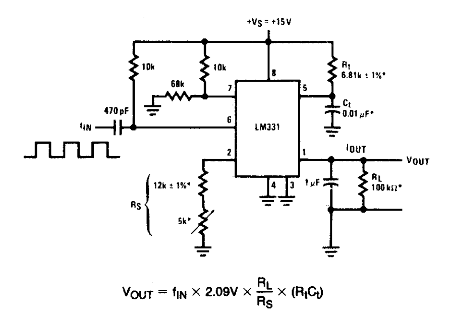 simple frequency to vvoltage converter circuit diagram