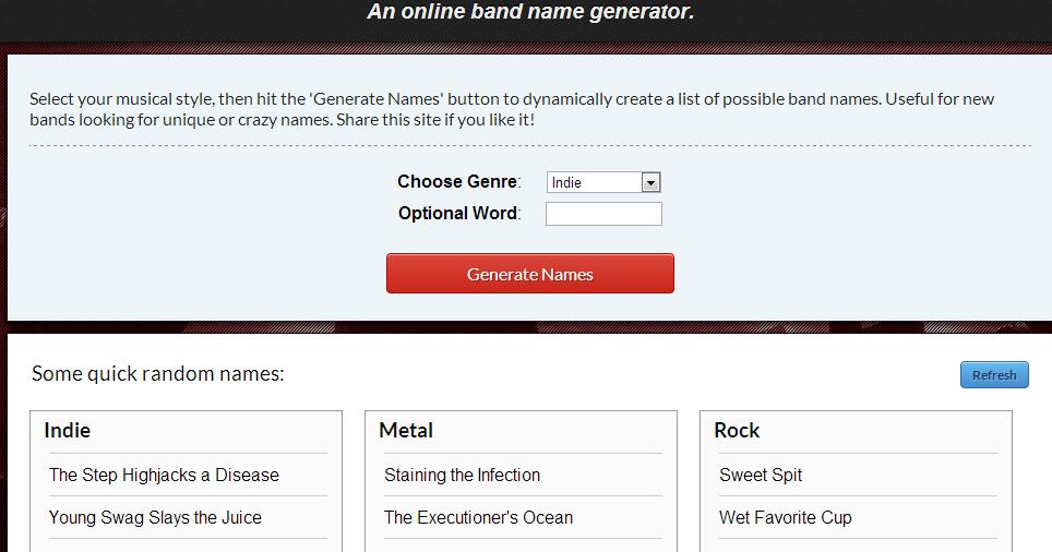 Newbandname Generatore Di Nomi Casuali Per Un Gruppo Musicale