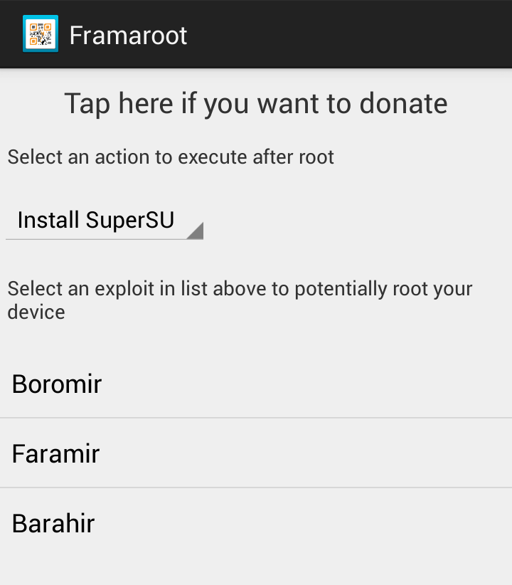 Framaroot, Root, SuperSU, Root Options