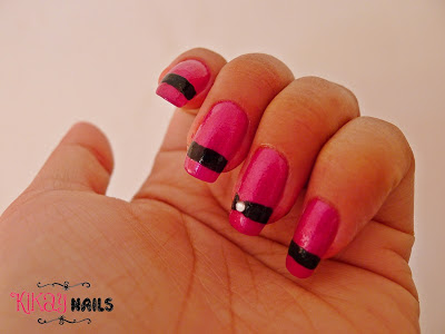 Fuchsia and Black Nail Art | Kikay Nails