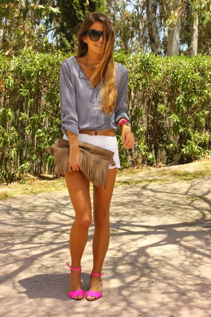 bolsas -Shorts – H&M,  Camisa/Shirt – Zara, Cinturón/Belt – Lefties, Sandalias/Sandals – Zara,Pulseras/Bracelets – Lowlita,  Bolso/Bag – Stradivariu, Reloj/Watch – Asos