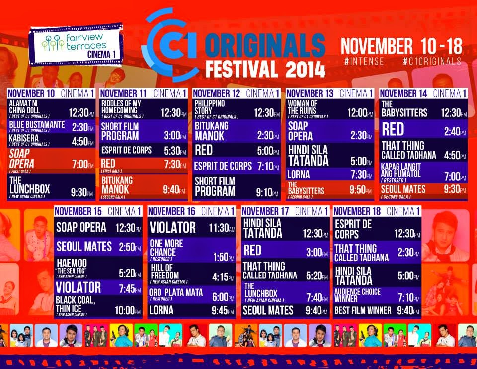 My movie world cinema one originals film festival 2014 for Movie schedule terraces