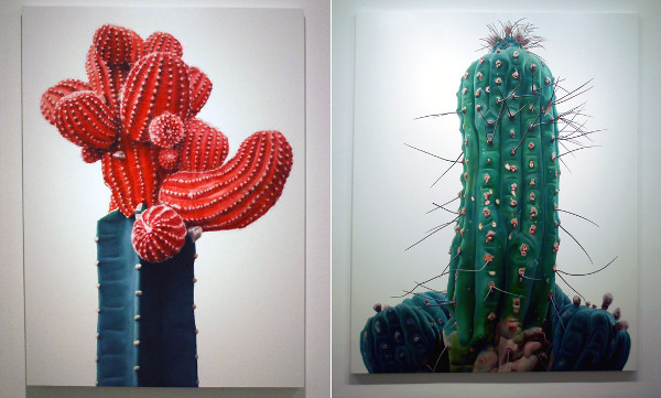 painted cacti oil on canvas 'TOUCH' by Kwangho Lee