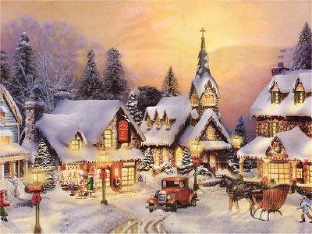 old fashioned christmas town wallpaper - photo #12