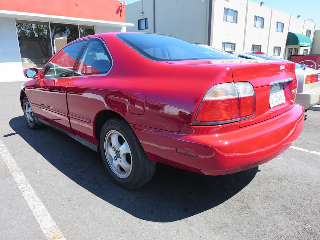 Santa's 1997 Accord with new red car paint.