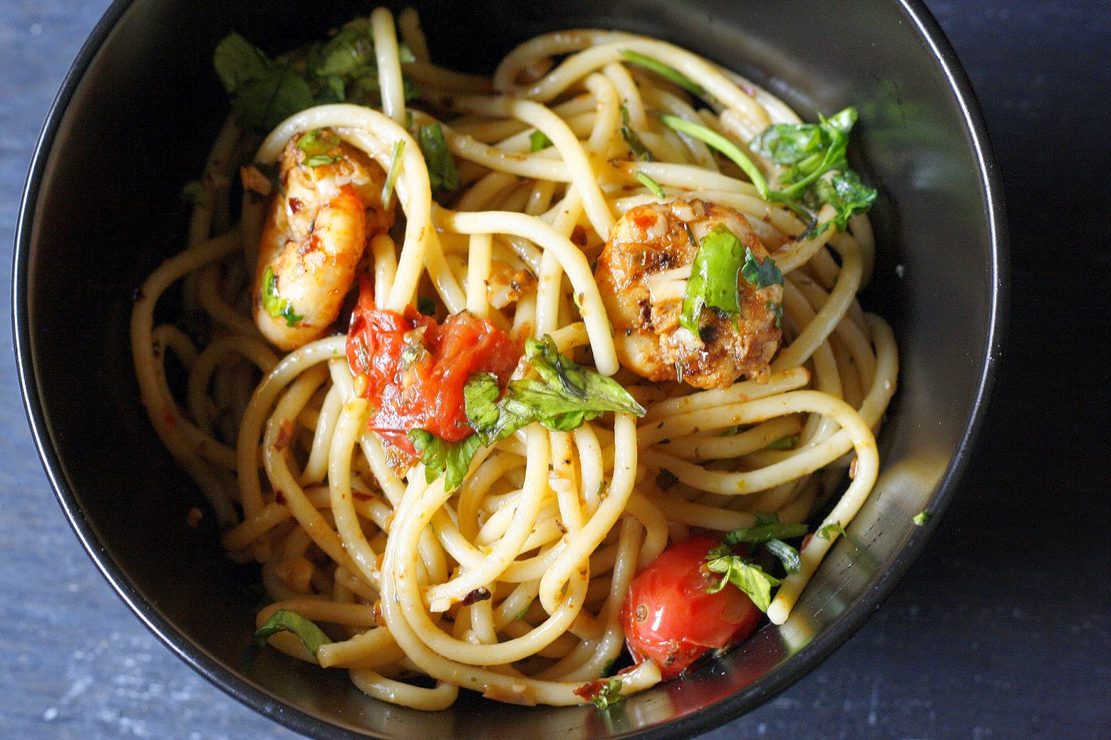 The perfect mid week dinner..basic pasta with garlic and olive oil, and with shrimps as an added bonus. Make it vegetarian by simply adding cherry tomatoes.