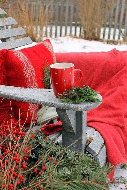 red pillow, red blanket, outside decorations, Christmas, porch