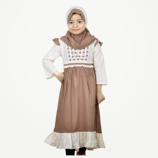 Gambar baju muslim anak perempuan warna coklat minimalis