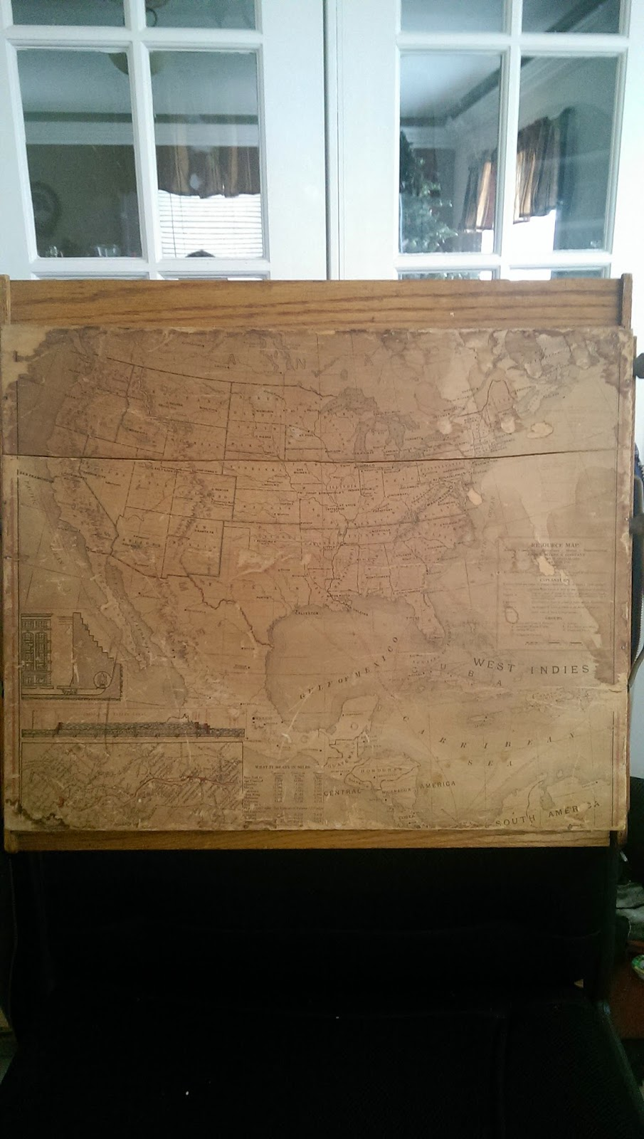 poor old water stained map of the good ol usa