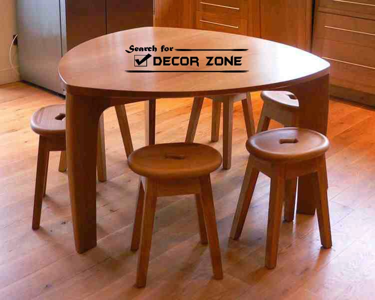 Wooden Small Kitchen Table With Small Stools