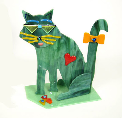 Fused glass cat art by Sue Goldsand