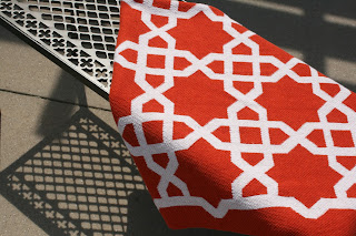 Moorish Tile Pattern Orange Throw
