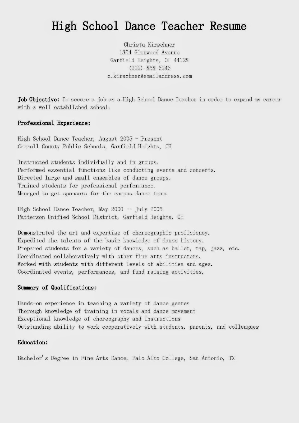 resume samples  high school dance teacher resume sample