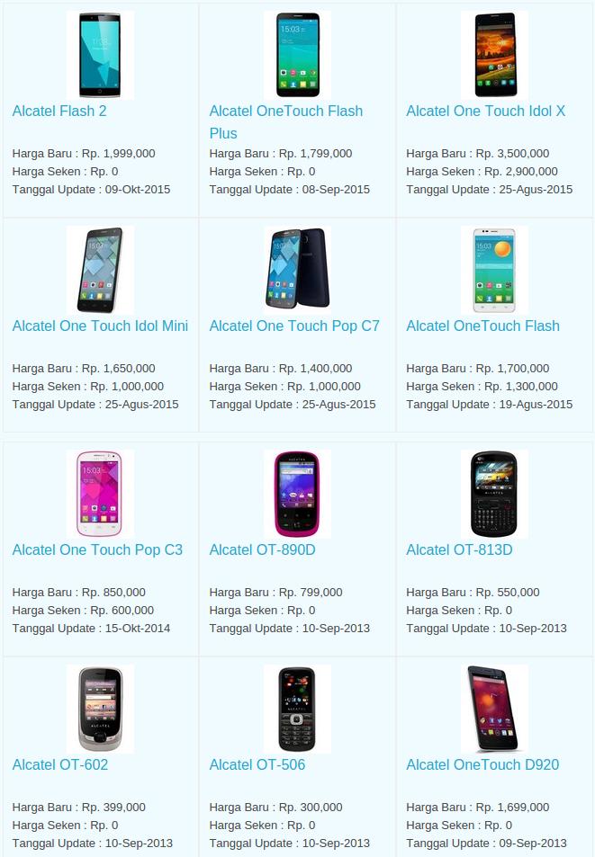Daftar Terbaru Harga Hp Alcatel Oktober 2015