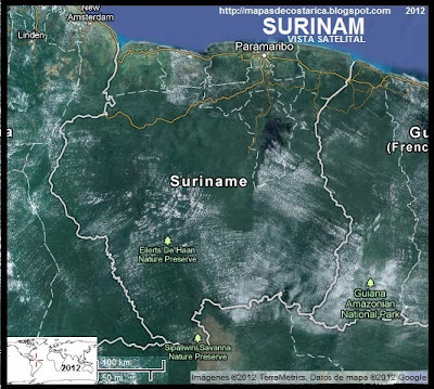 SURINAM, Vista Satelital de Google Maps