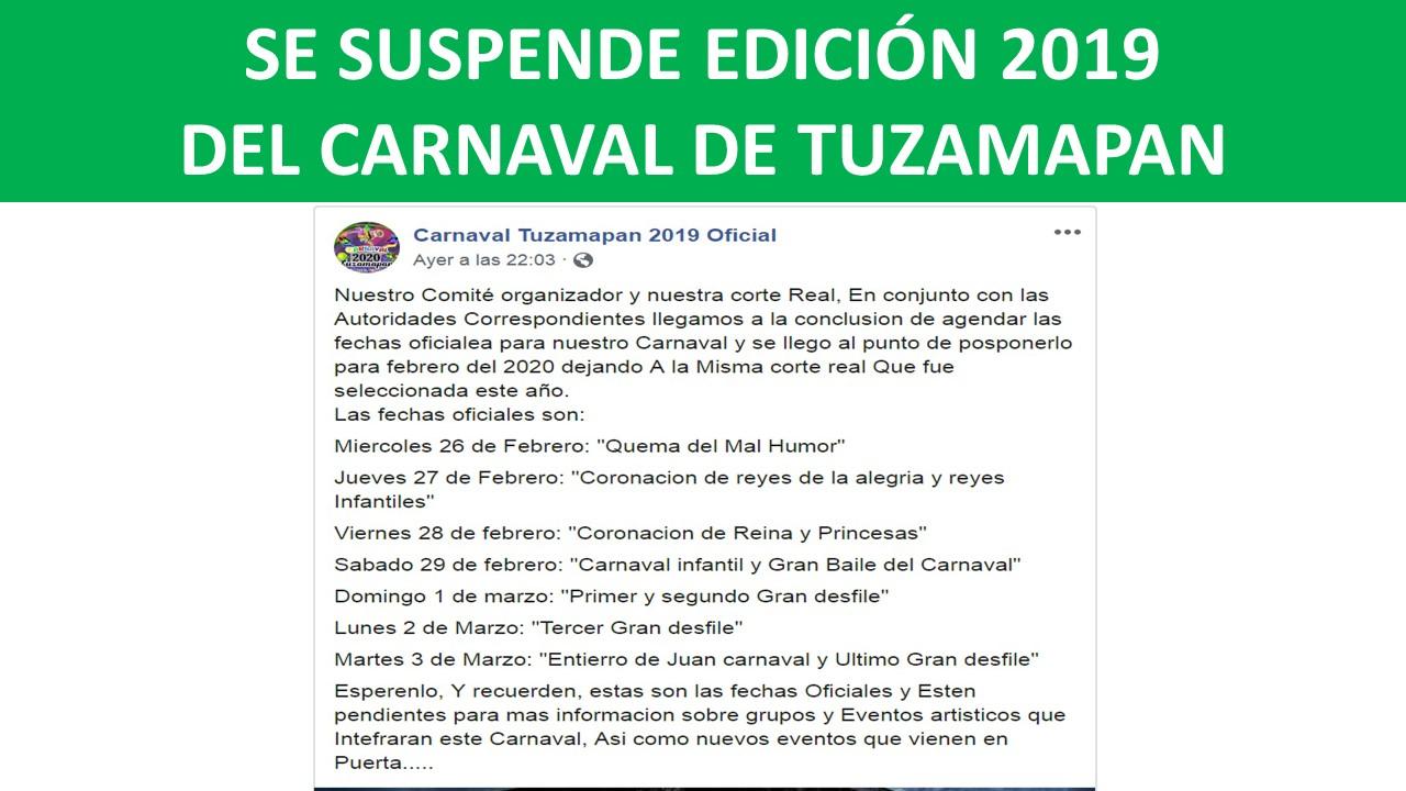 SE SUSPENDE EDICIÓN 2019