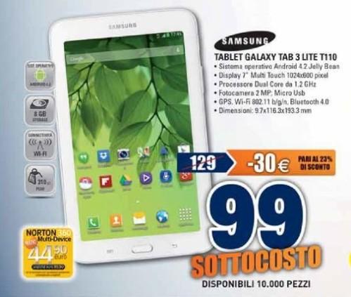 In offerta a 99 euro il Samsung Galaxy Tab 3 Lite in sottocosto