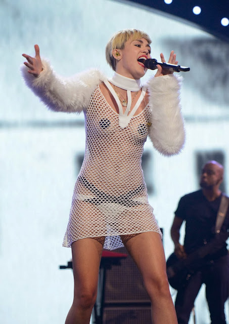 Miley Cyrus Wearing Very Revealing Mesh Outfit At iHeart Radio Music Festival