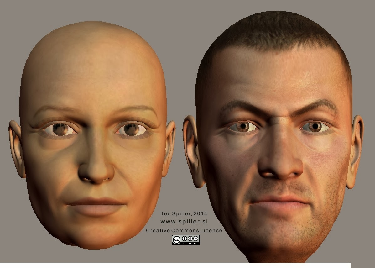 Old face shape (female, male) enface